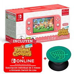 Consola nintendo switch lite coral + animal crossing new horizons + 3 meses nintendo switch online