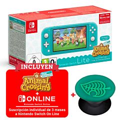 Consola nintendo switch lite turquesa + animal crossing new horizons + 3 meses nintendo switch online