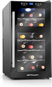 Vinoteca orbegozo vt-1810 - 18 botellas - display digital - dual zone - 2 temperaturas - refrigeración termoeléctrica - luz led